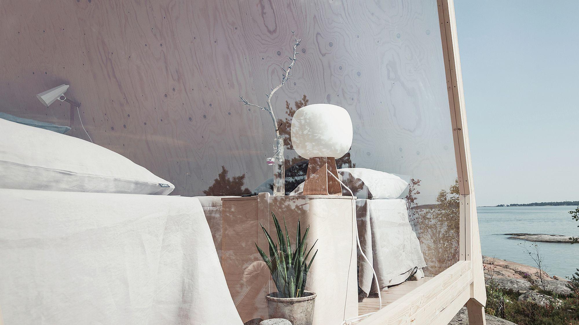 Contemporary decor and Scandinavian simplicity take over inside the cabin