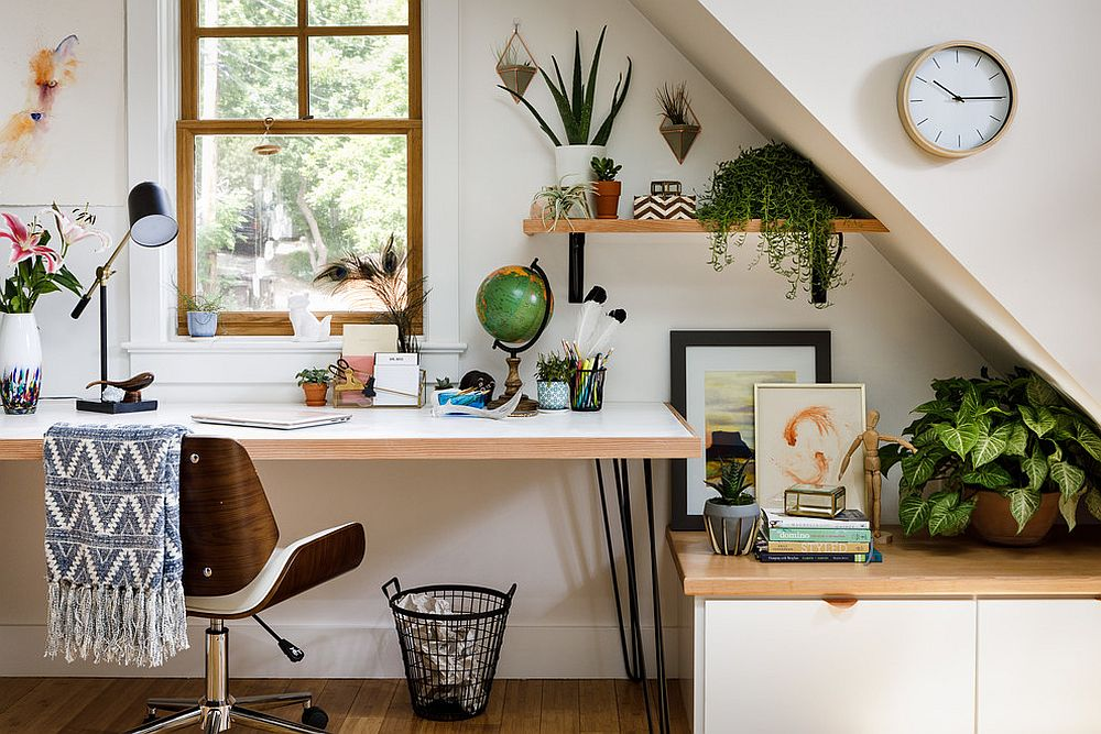 Contemporary home office set in a garage is both gorgeous and efficient