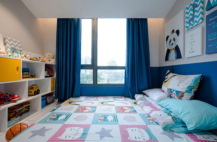 Creating space for the extensive shelf in the kids' room