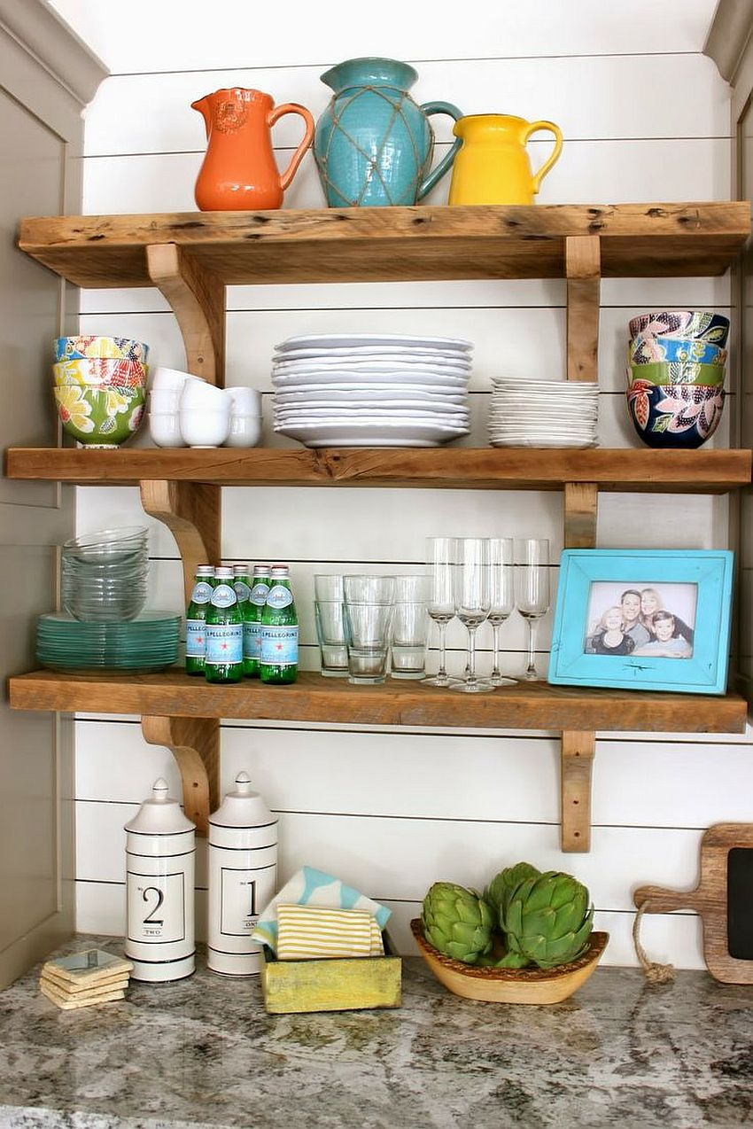 Decorating-the-open-wooden-shelves-in-your-kitchen