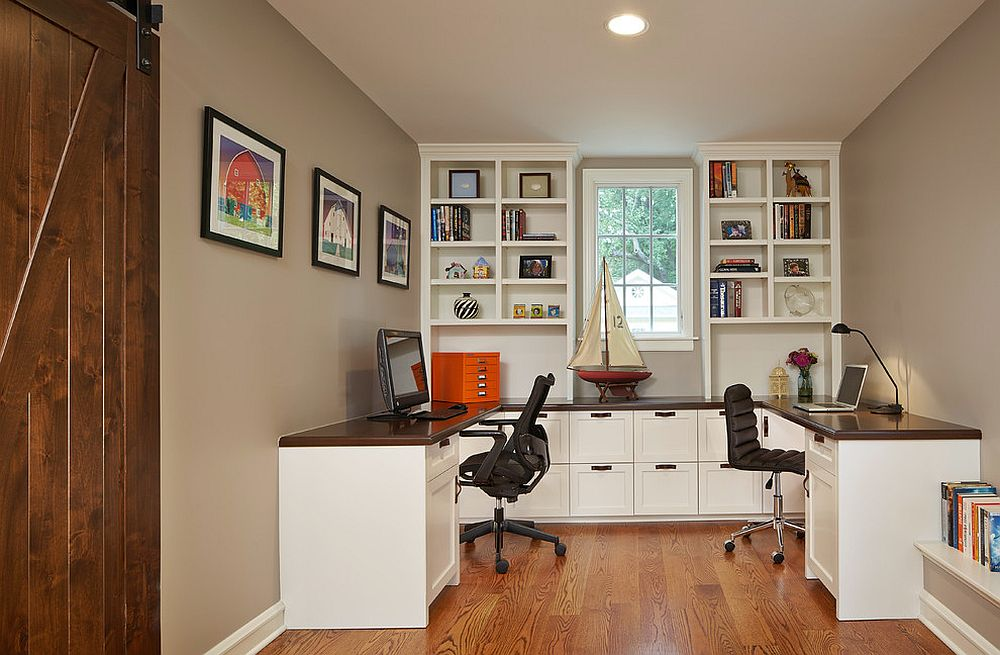Dedicated wall for storage and shelving makes the home office a lot more organized