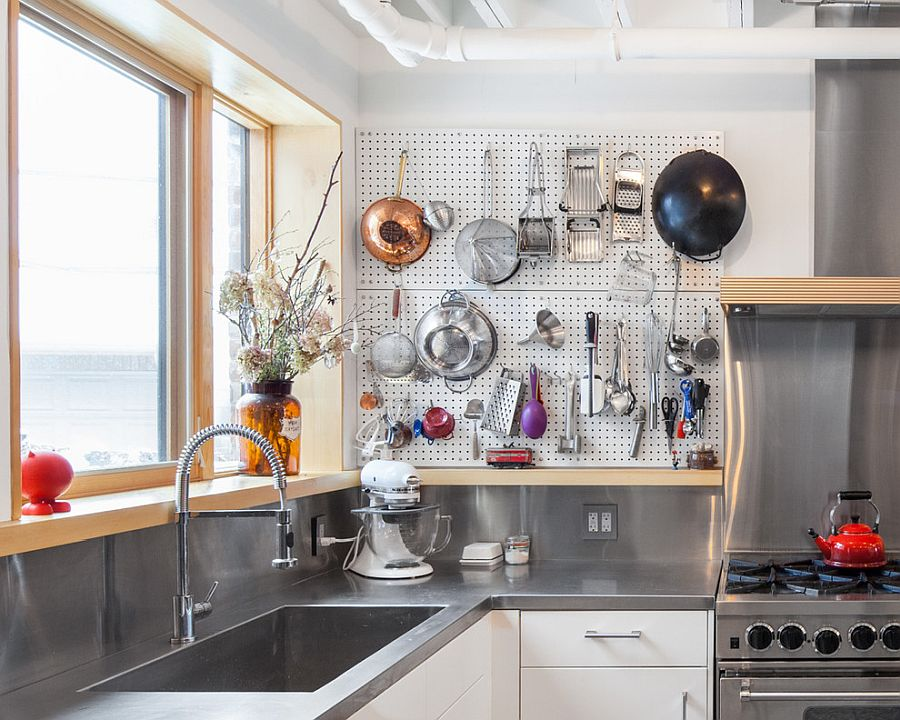 Durable-metal-pegboard-wall-for-the-modern-industrial-kitchen