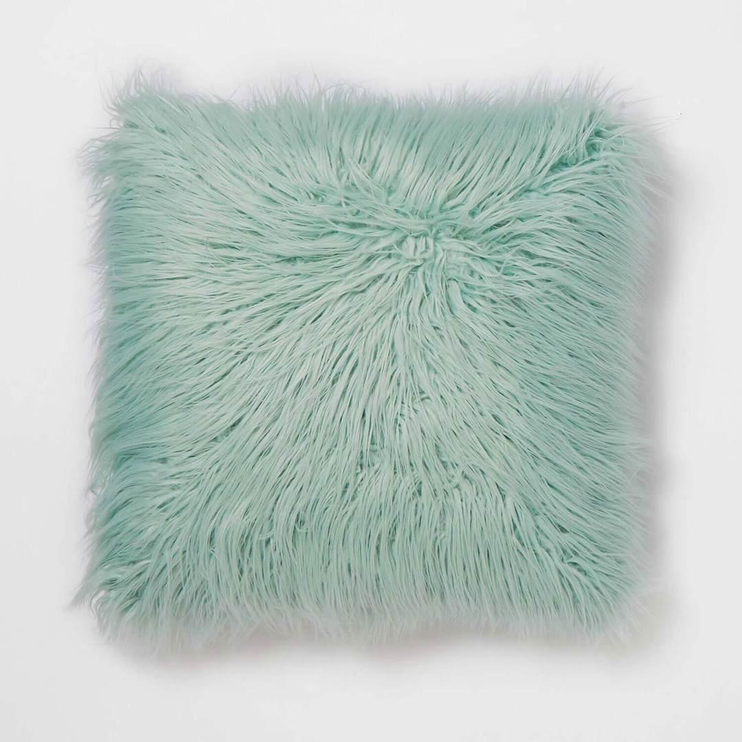 Faux fur pillow in mint