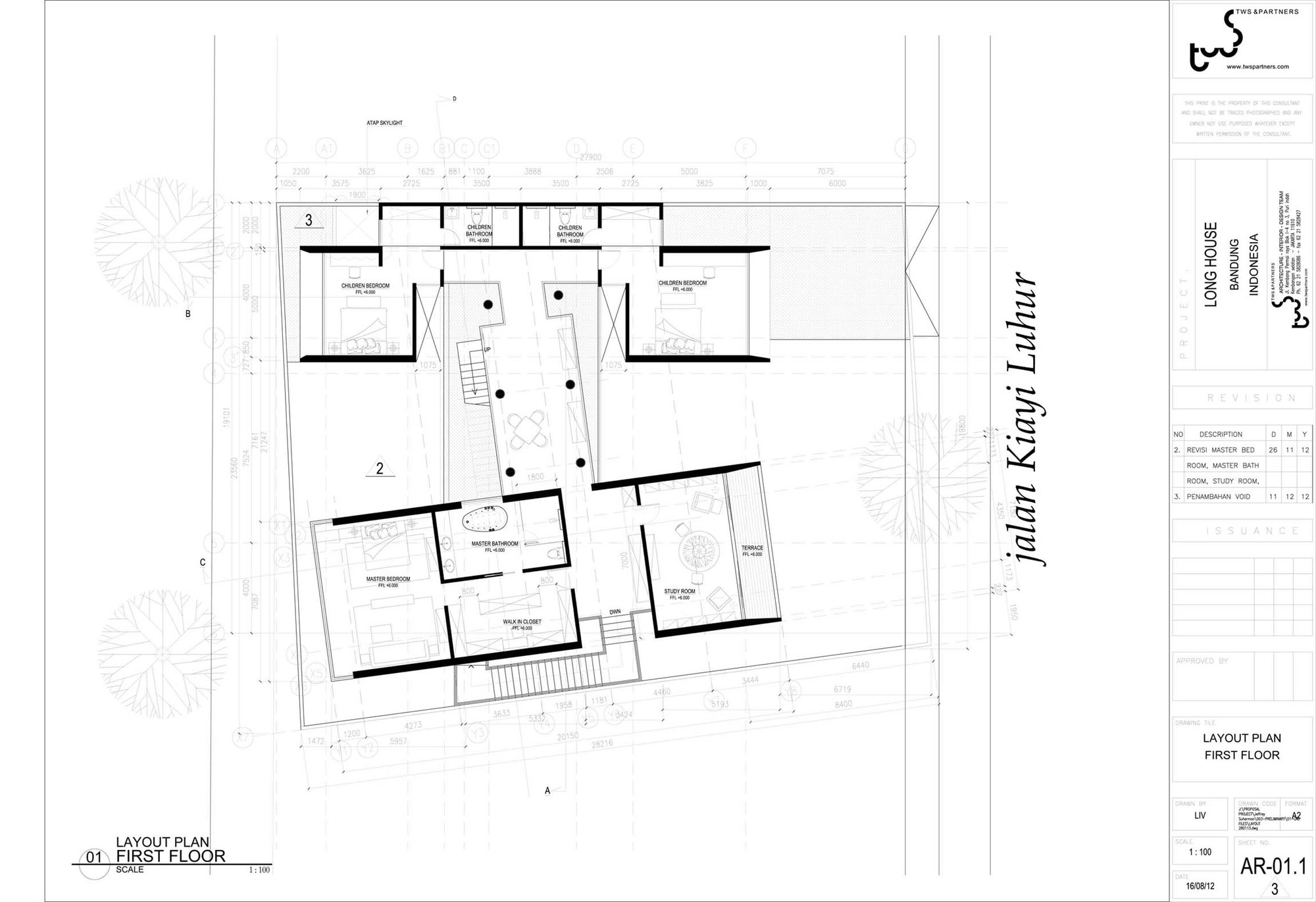 Floor plan of contemporary home in Indonesia