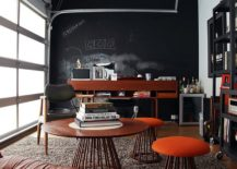 Garage-home-office-with-chalkboard-wall-has-both-industrial-and-midcentury-touches-217x155