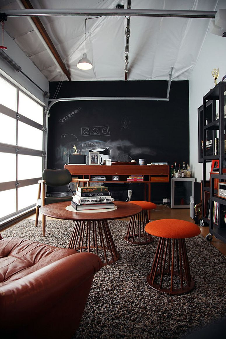 Garage home office with chalkboard wall has both industrial and midcentury touches