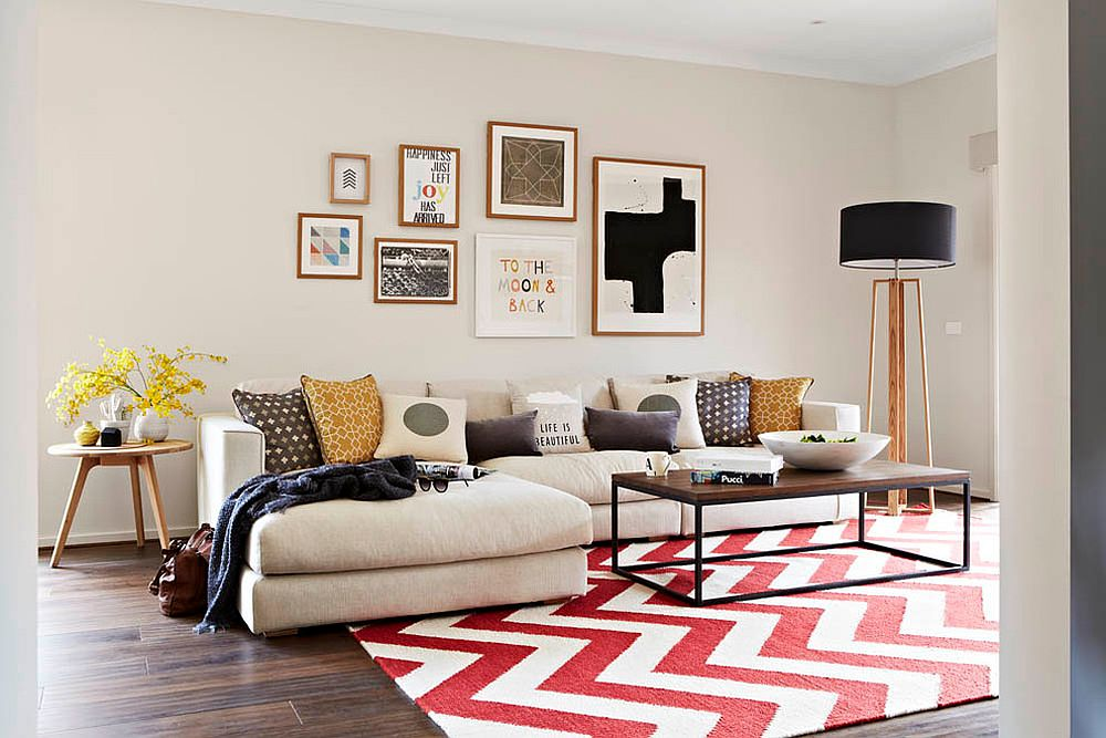 Gorgeous red and white chevron pattern rug for the neutral living space
