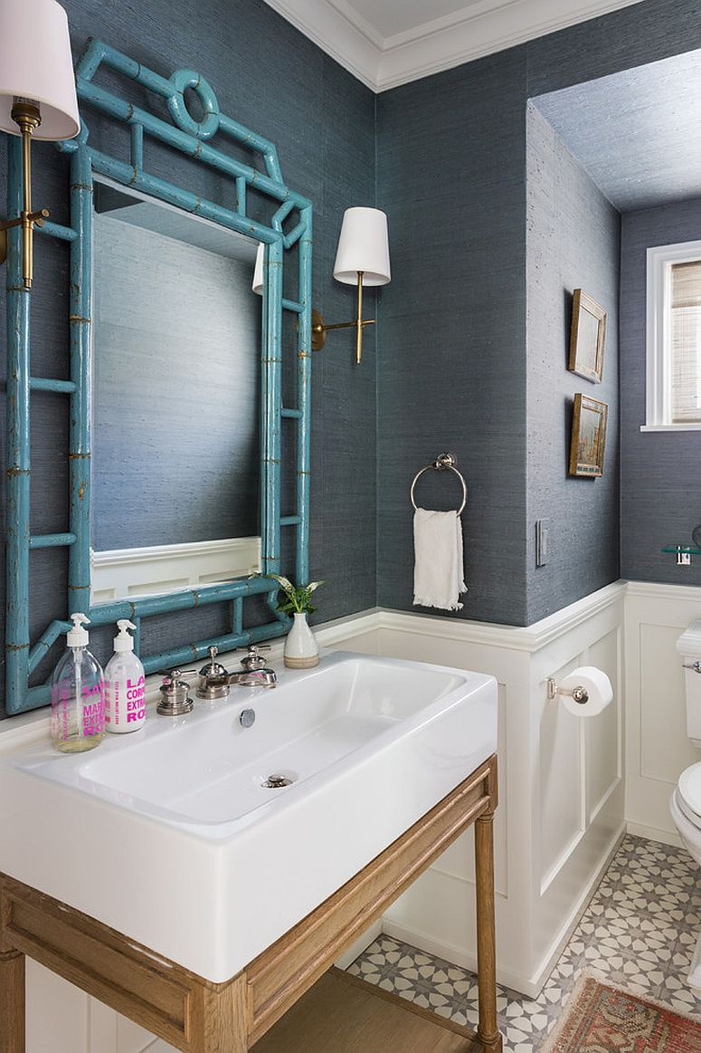 Refined and refreshing trendy powder rooms in gray and - Wallpaper for small powder room ...