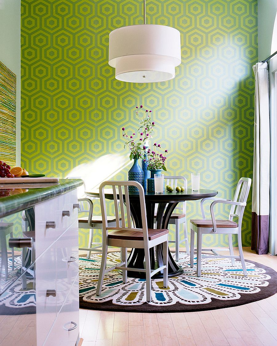 Hicks inspired pattern in green brings this small dining room alive