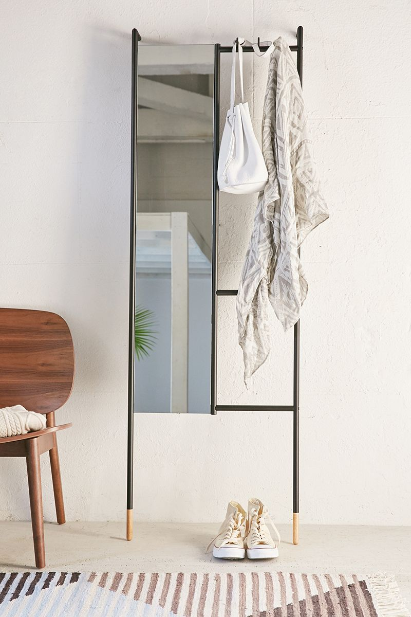 Leaning mirror and accessory organizer