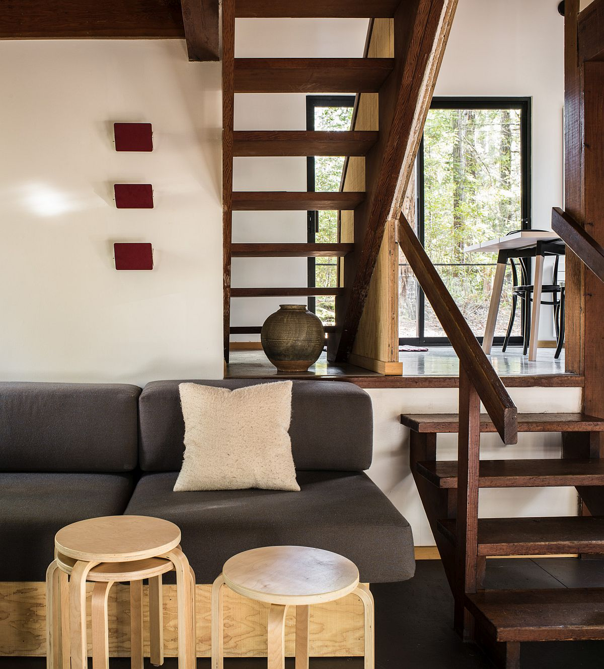 Living room of the woodsy cabin set among California's beautiful wilderness