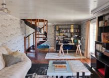 Lower-level-contemporary-home-office-with-spiral-staircase-and-wooden-open-shelves-217x155
