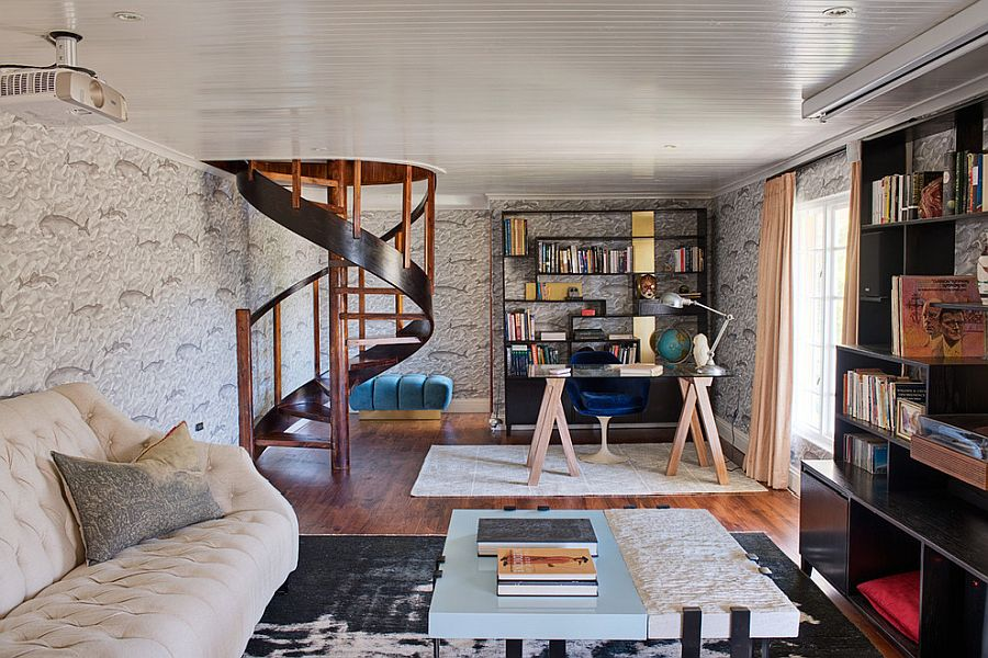 Lower level contemporary home office with spiral staircase and wooden open shelves