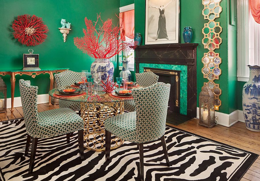 Malachite dining room is a showstopper