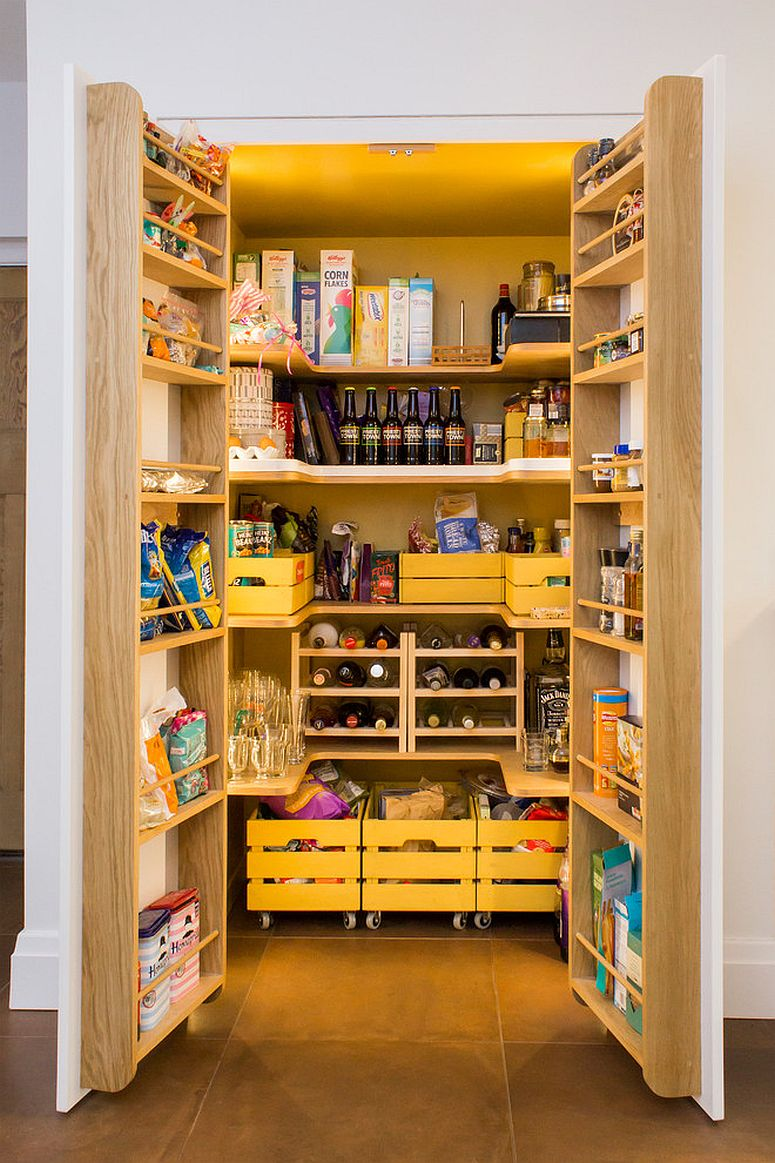 Mid-Century-inspired-kitchen-with-fabulous-pantry-that-uses-cartons-on-wheels-and-multiple-shelves