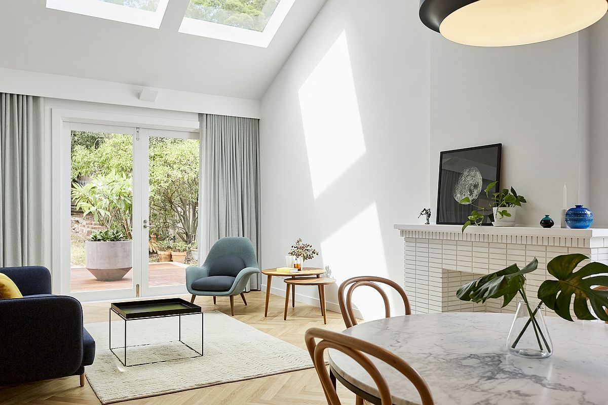 Minimal and light-filled interior of the renovated 1950's home