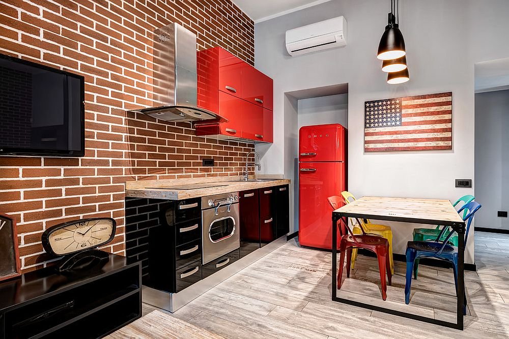 Modern-industrial-kitchen-with-bold-red-cabinets