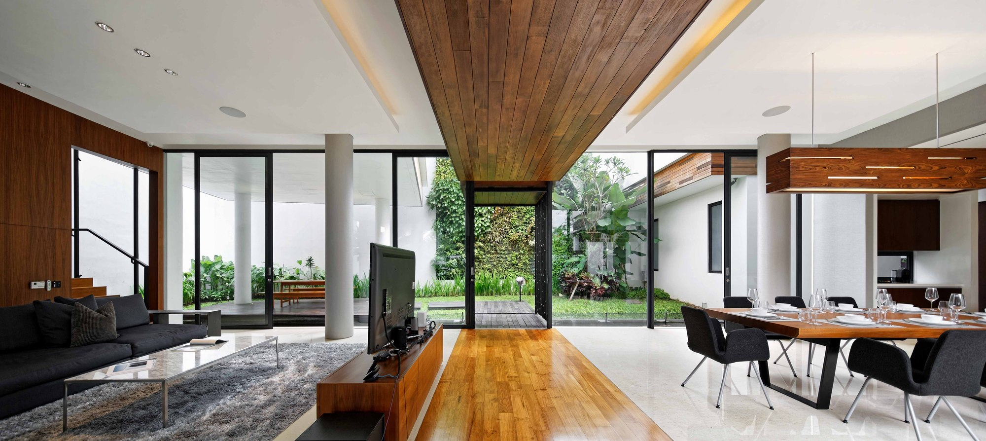 Modern interior with wooden accents inside the home