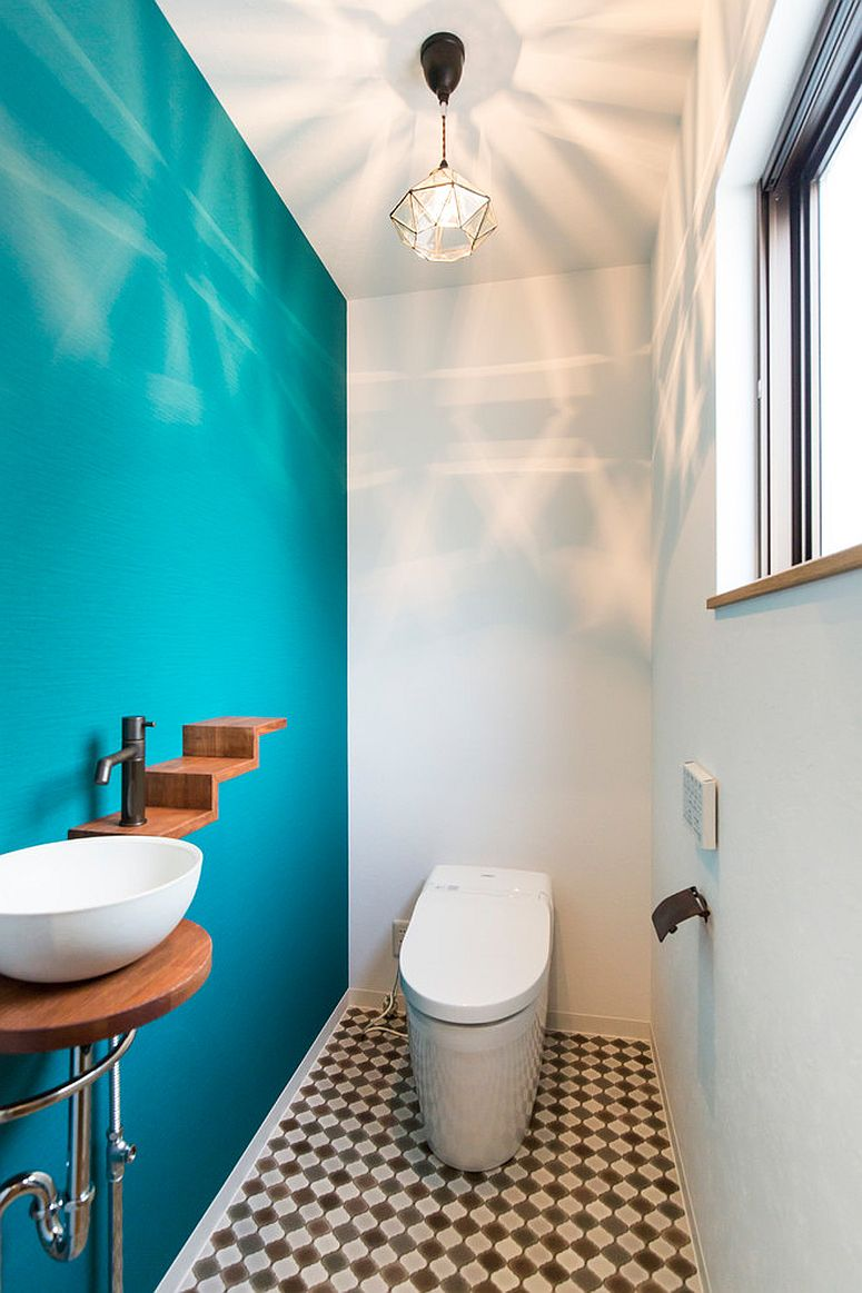 Modern Rustic Powder Room In White And Turquoise