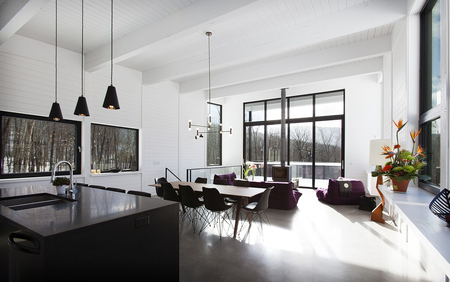Open-plan-living-area-in-black-and-white
