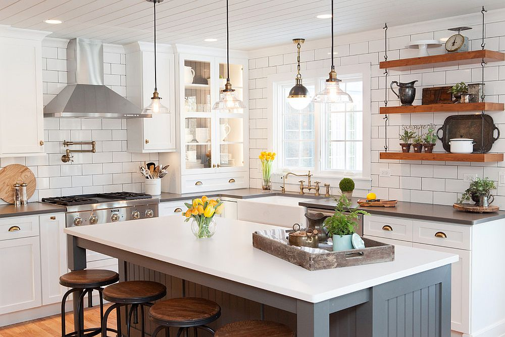 Open shelving combined with closed cabinets inside the bright modern kitchen