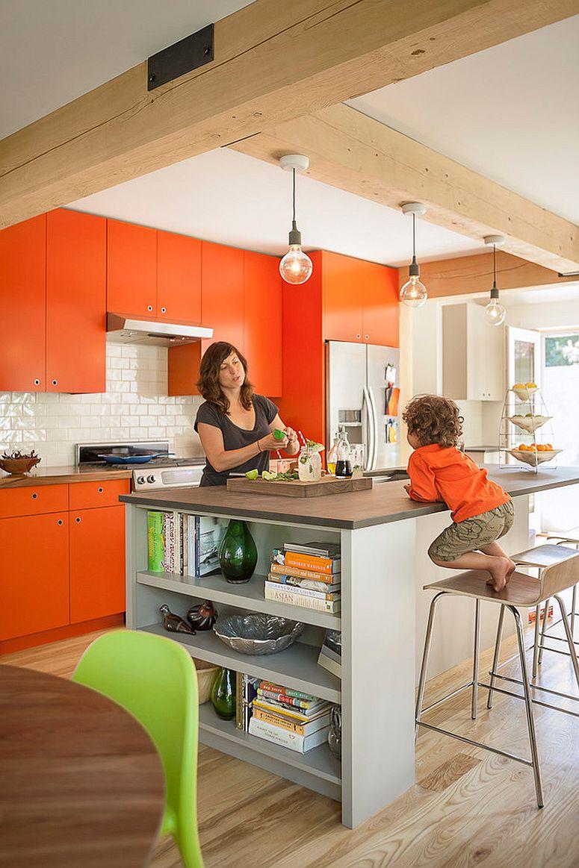 Orange-enlivens-the-modern-kitchen-with-ease