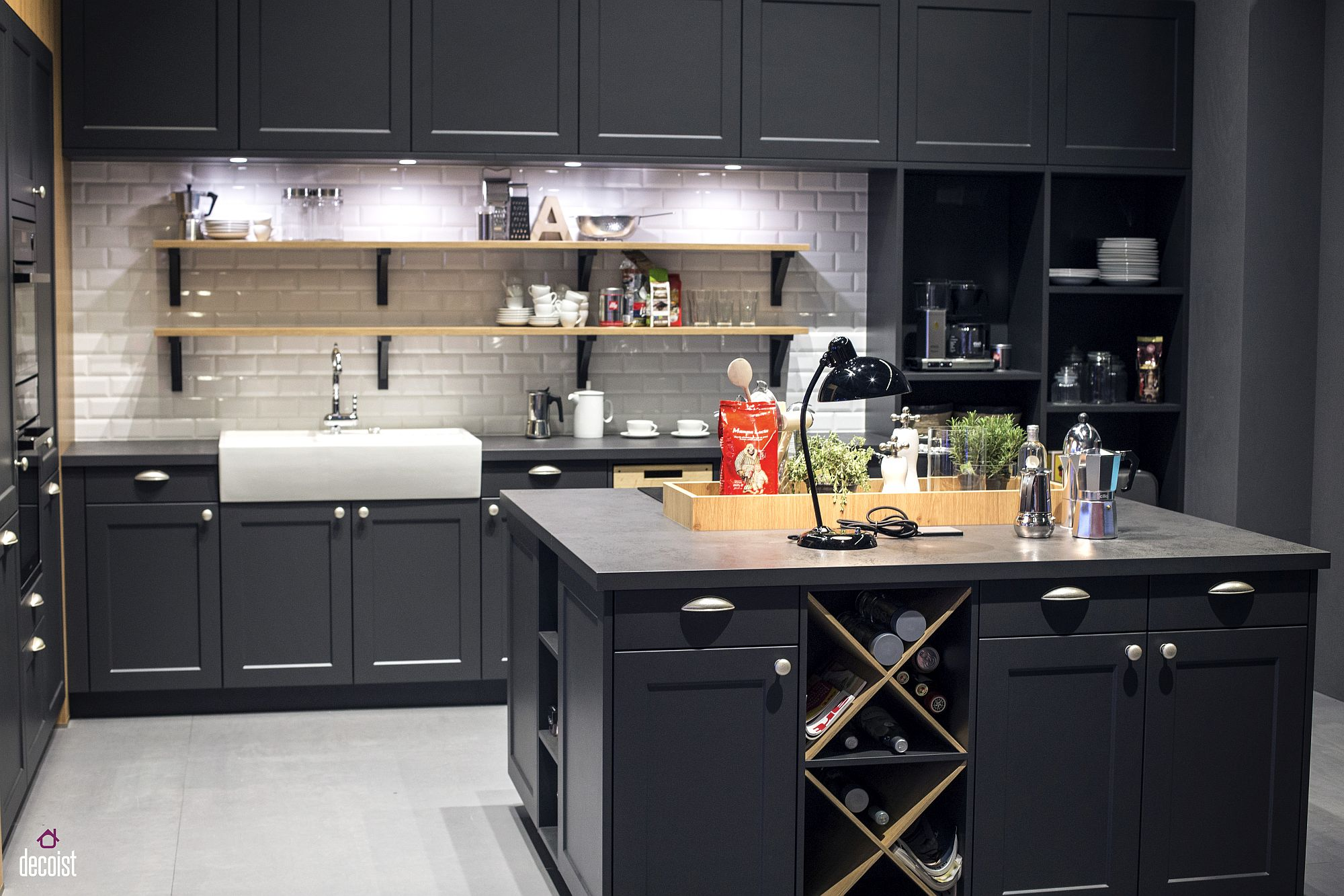 Polished modern kitchen in dark gray and white