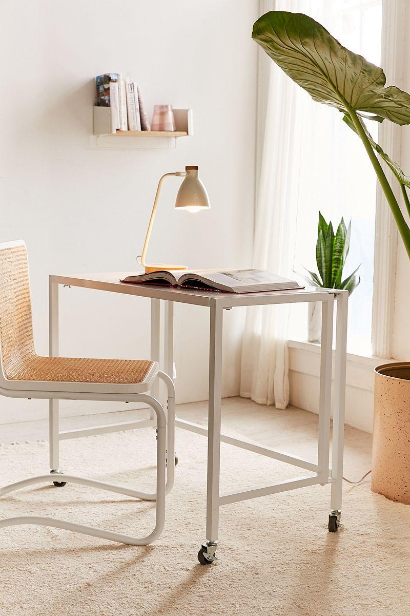 Powdercoated metal folding desk in white