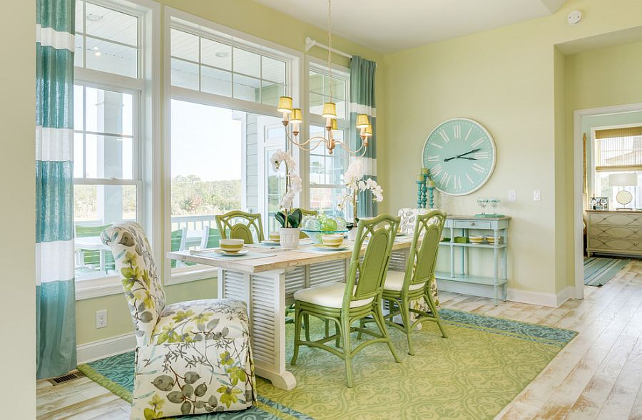 Relaxing beach style dining room in light green and blue