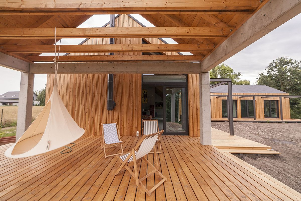 Relaxing wooden deck with a hammock