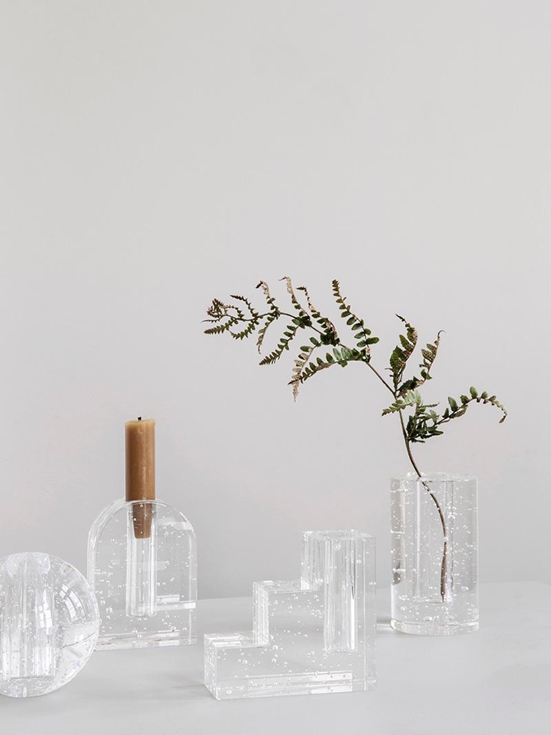 Sculptural bubble glass vases