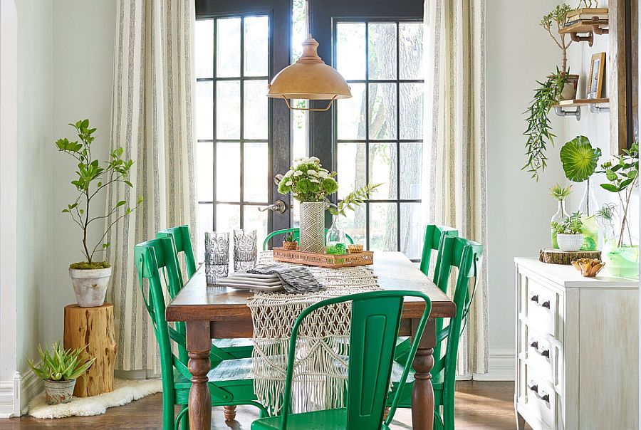 Shabby chic dining room in white brilliant green accents and tropical touch