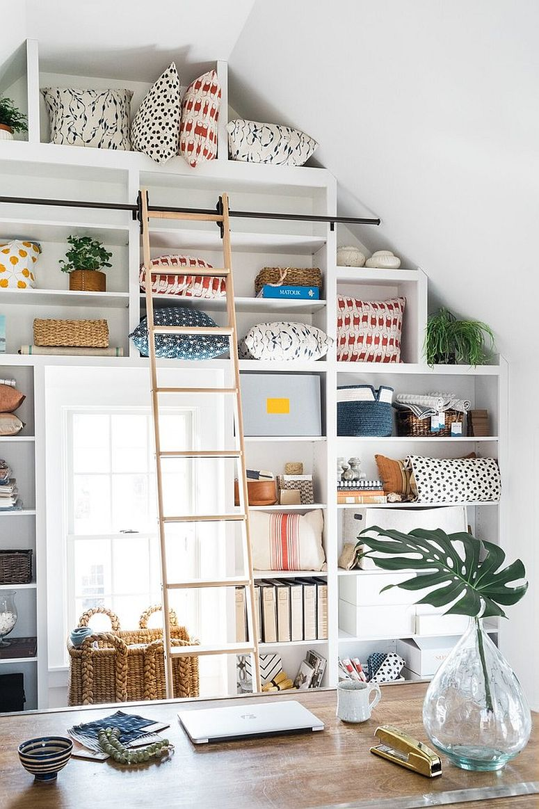 Shelves with ladder allow you to make the most of the vertical space in the home office