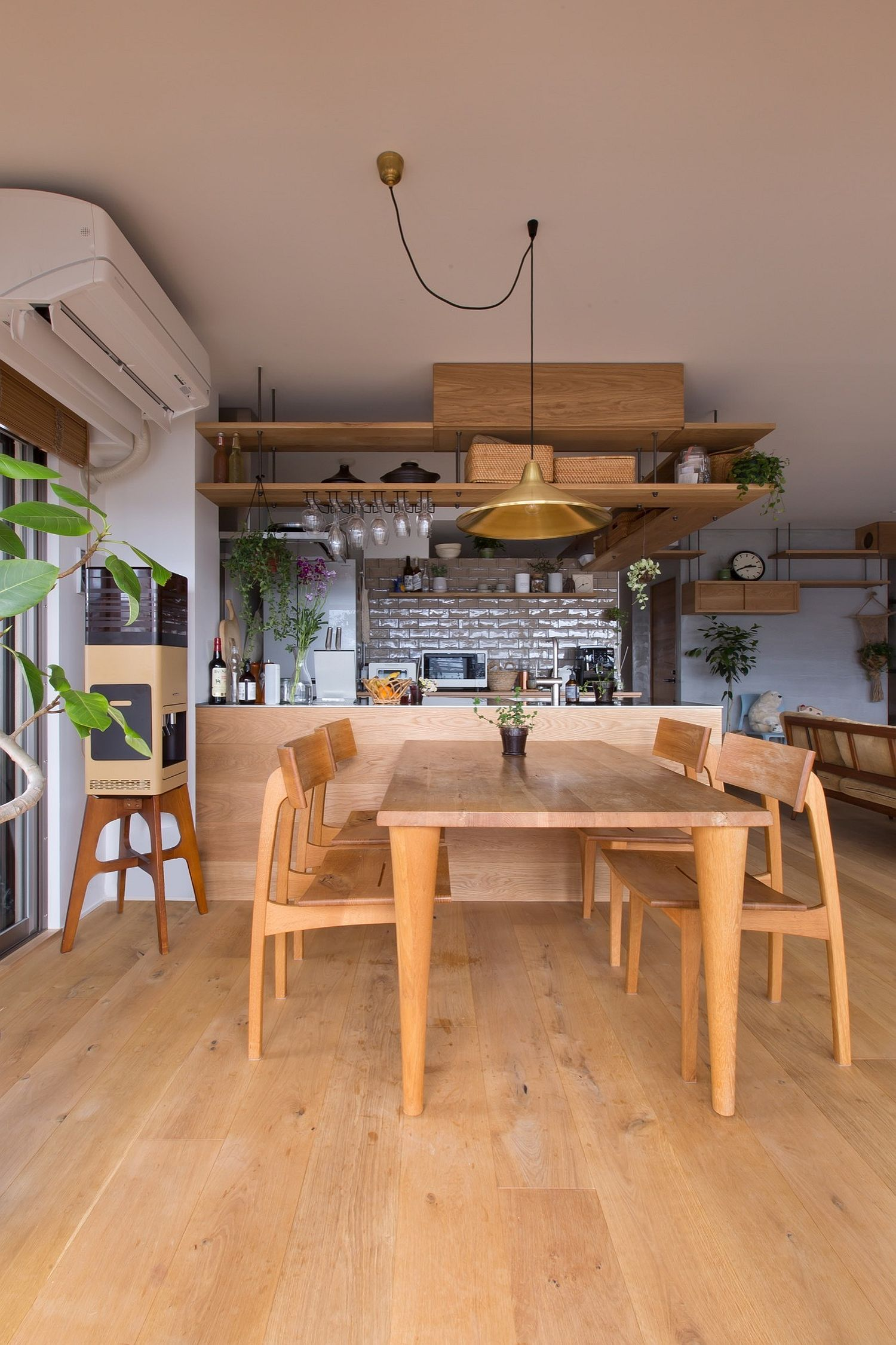 Space above the kitchen area has been used to the hilt in this cat-friendly apartment