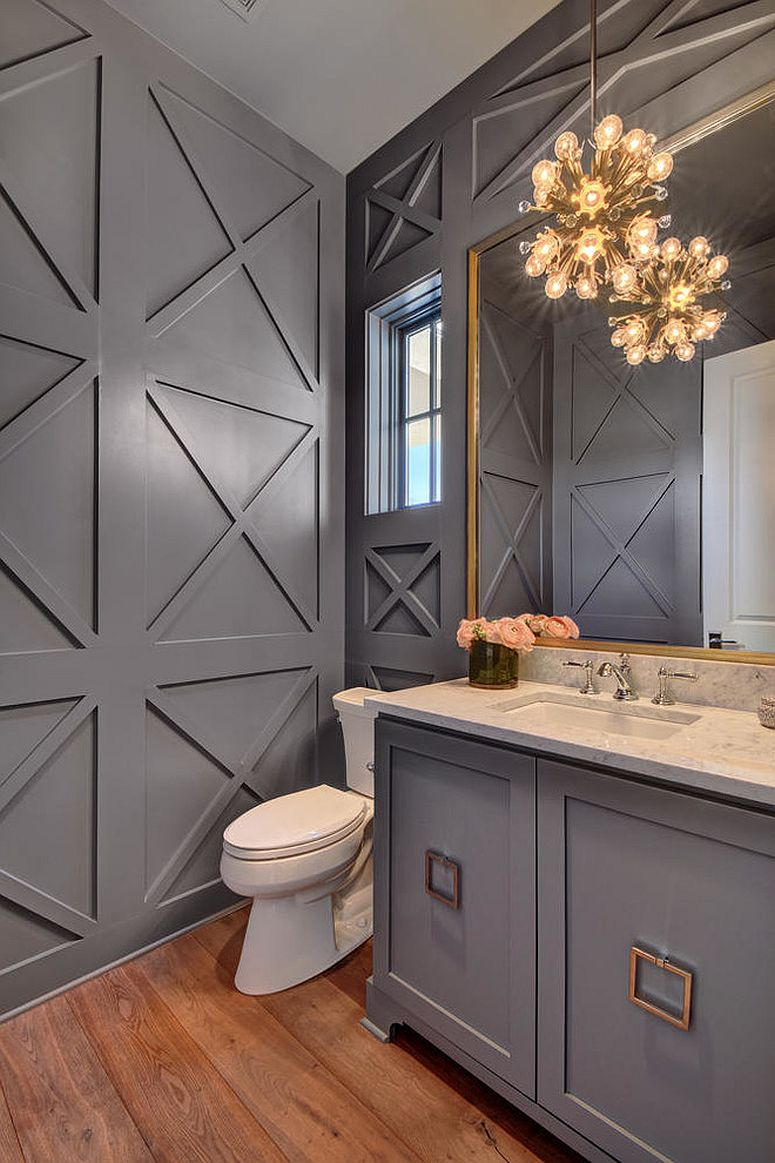 Refined And Refreshing Trendy Powder Rooms In Gray And