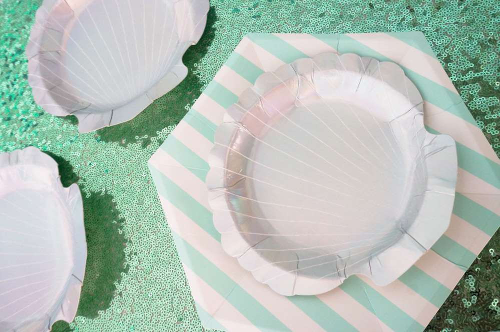 Striped and shell plates add festivity