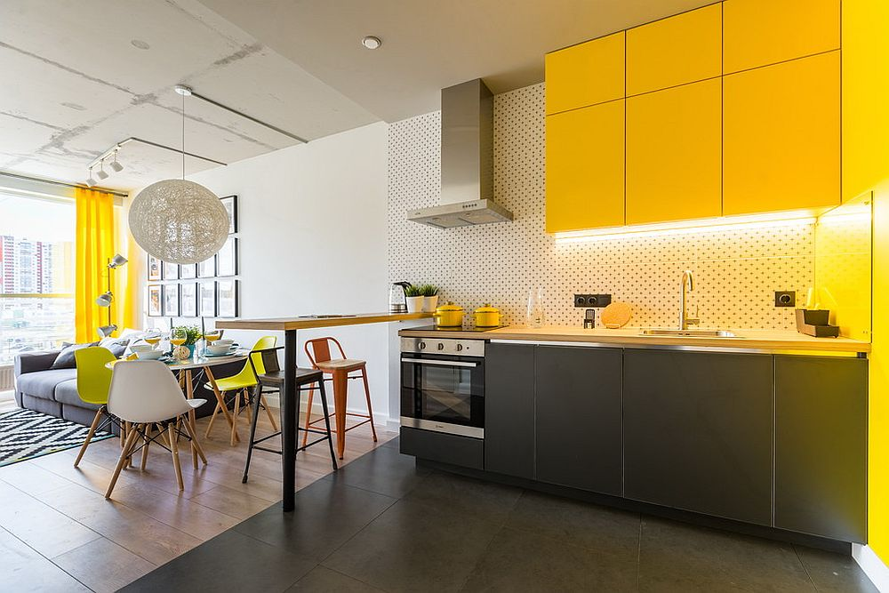 Stunning-contemporary-kitchen-with-bright-yellow-cabinets