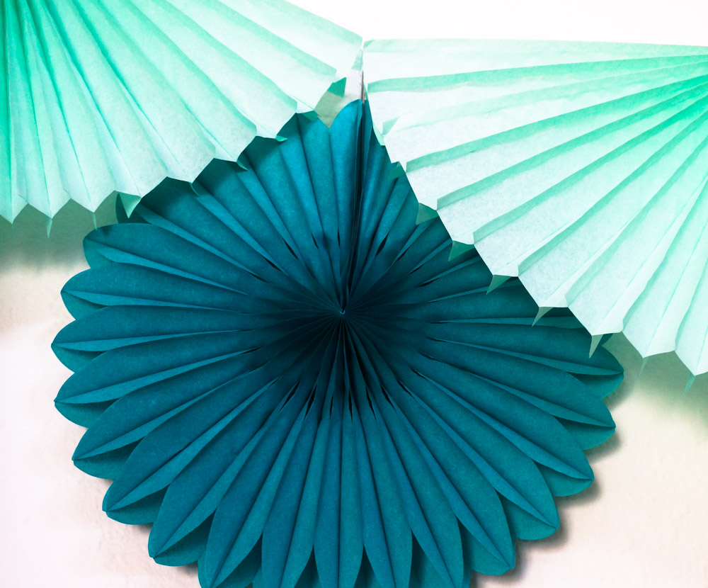 Teal and mint paper fans