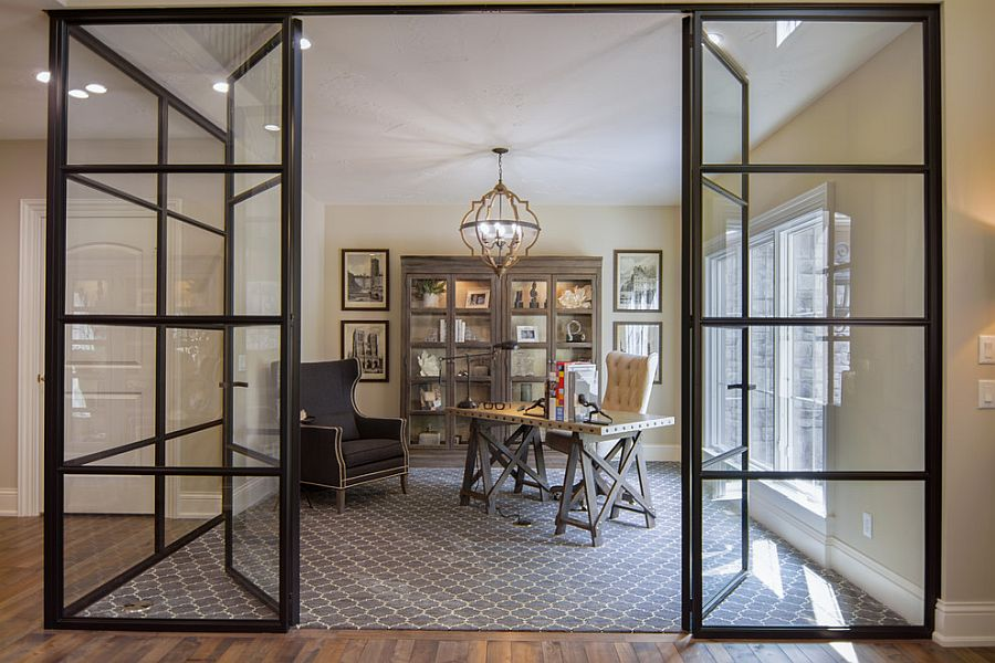 Transitional-home-office-with-wooden-cabinets-that-feature-glass-doors
