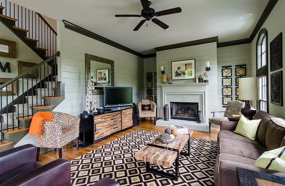 Transitional living room with a rug that steals the spotlight!