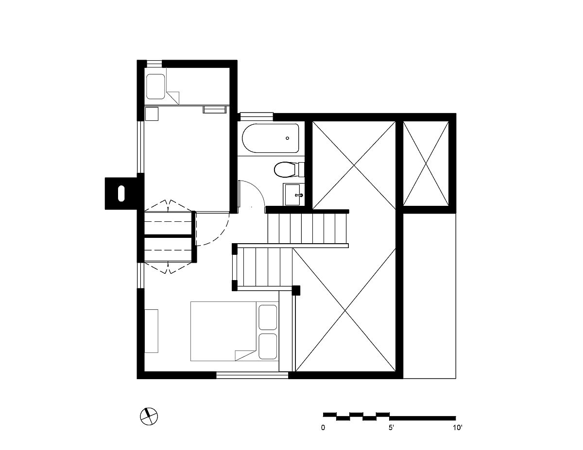 Upper level floor plan of Timber Ridge Sea Ranch Cabin
