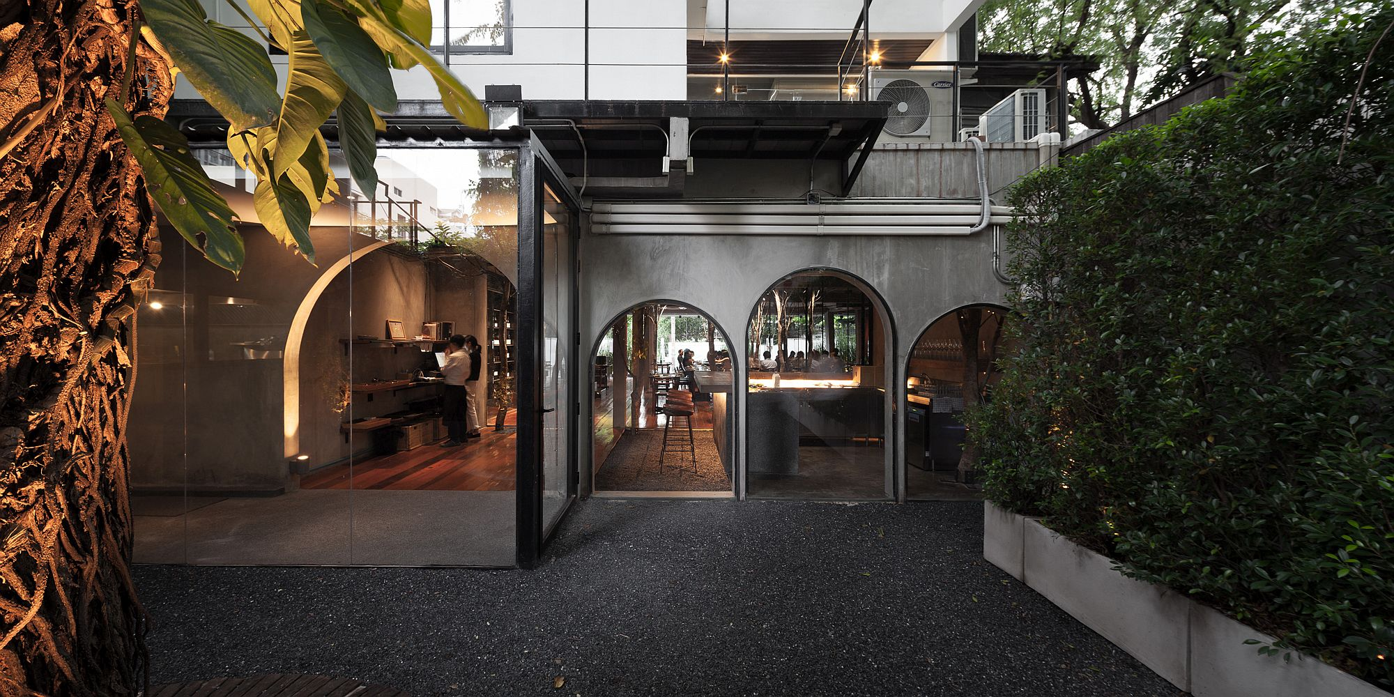 View of the nature-centric restaurant in Bangkok from outside