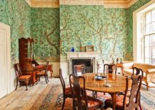 Wallpaper-in-green-with-floral-and-natural-pattern-for-the-traditional-dining-room-217x155