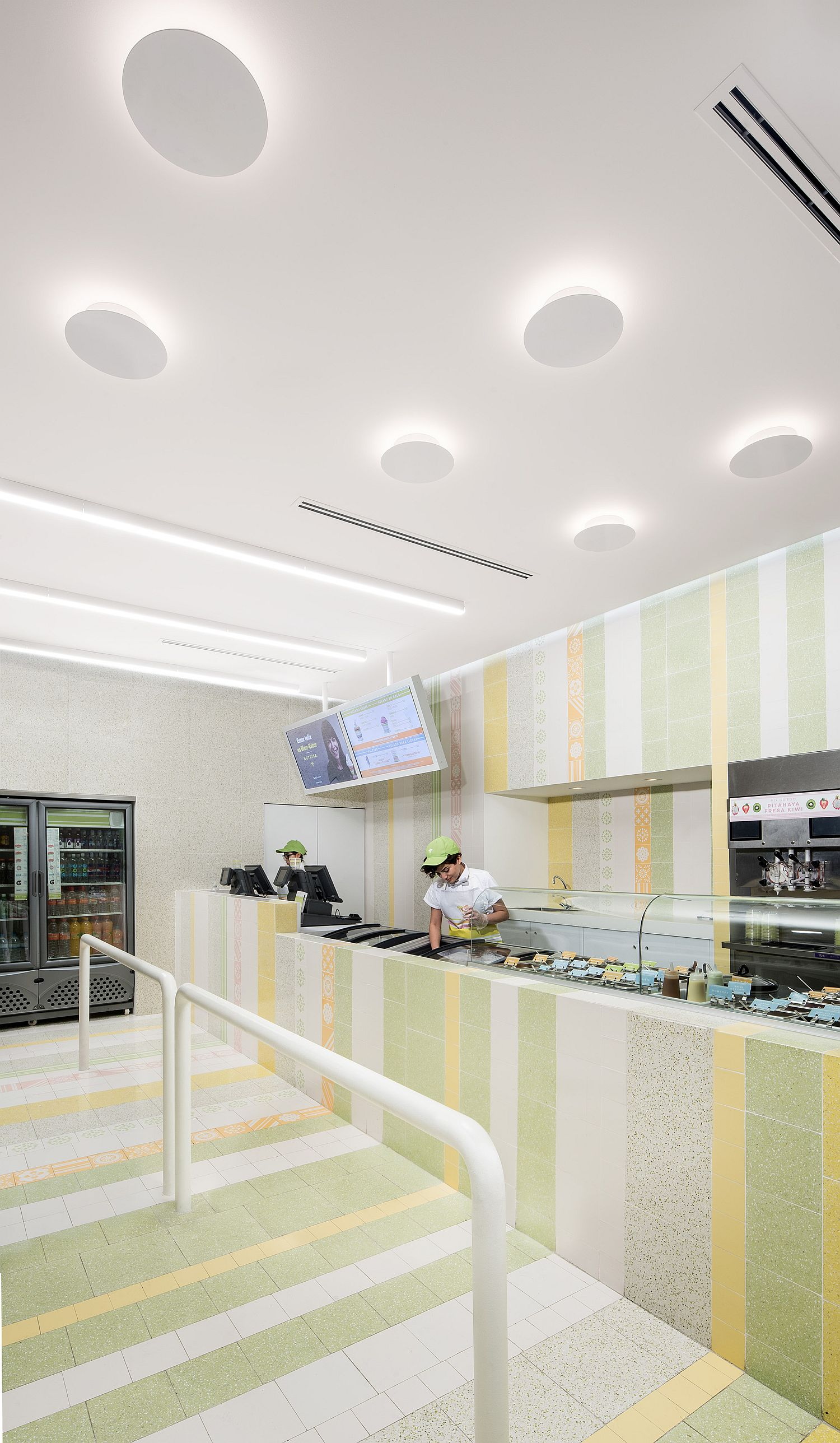 White along with light hues makes an impact inside the ice cream shop