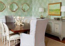 White-and-green-dining-room-with-lovely-use-of-wallpaper-217x155