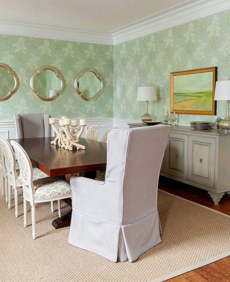 White and green dining room with lovely use of wallpaper