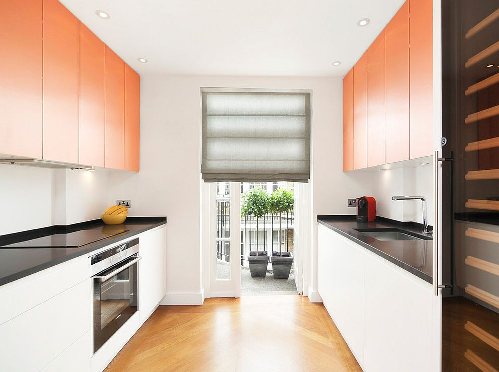White-contemporary-kitchen-with-spunky-orange-cabinets