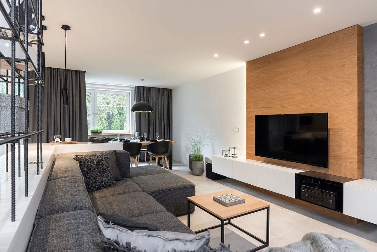 White wood and gray modern apartment in Prague