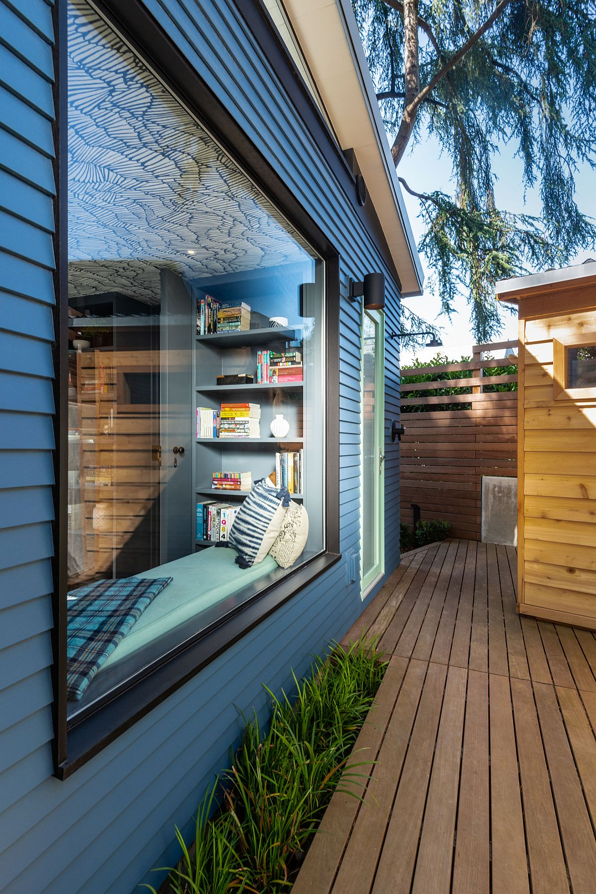Window seat offers a great view of the deck outside