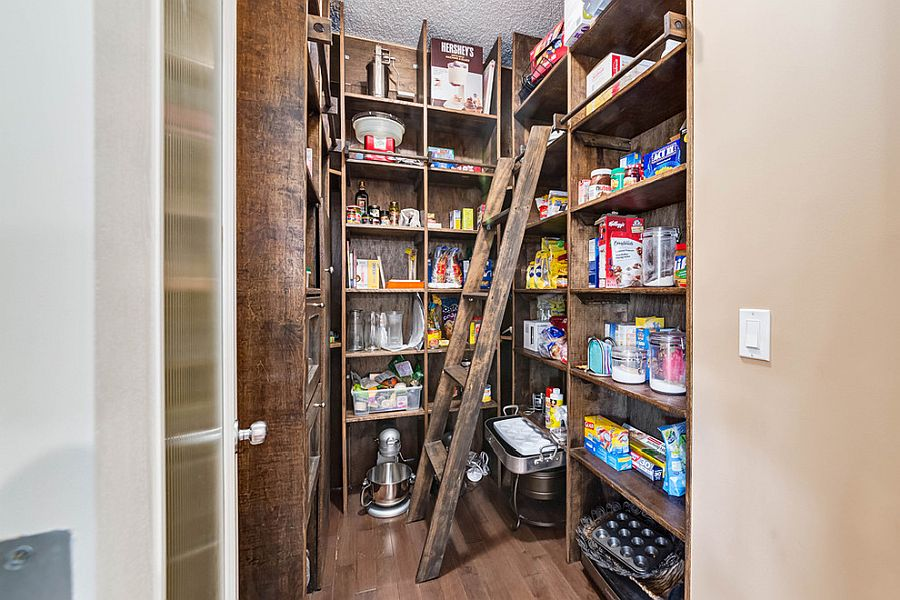 Wooden pantry with weathered finish for the rustic kitchen
